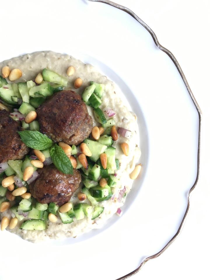 Lamb Meatballs + Eggplant Dip + CucumberSalad